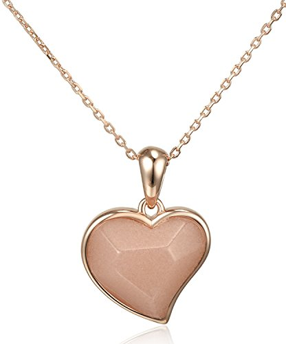 Lanfeny Rose Gold Plated 925 Sterling Silver Pendant Necklace with Natural Rose Quartz Heart Shape Love