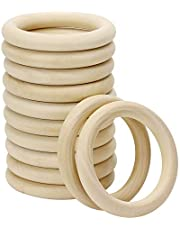 Penta Angel 70mm 12Pcs Natural Wood Rings Unfinished Wooden Loop Circle for DIY Project Pendant Connectors Art Craft Jewelry Making (70mm)