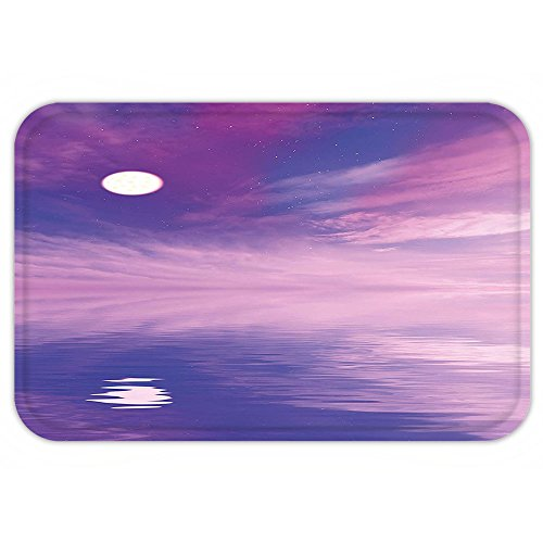 VROSELV Custom Door MatSpace Surreal Spectacle with Little Starand Full Moon Reflecting on Sea Fuchsia Violet Blue - Made Custom Spectacles