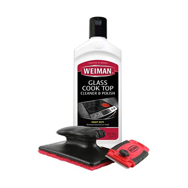 Weiman Cooktop Cleaner Kit - Cook Top Cleaner and Polish 10 oz. Scrubbing Pad, Cleaning Tool, Cooktop Razor Scraper 1