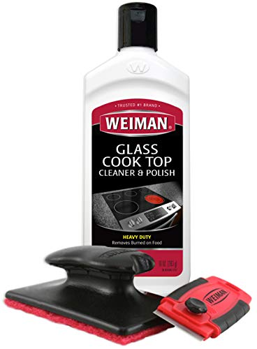 Weiman Cooktop Cleaner Kit - Cook Top Cleaner and Polish 10 oz. Scrubbing Pad, Cleaning Tool, Cooktop Razor Scraper (The Best Glass Cleaner)