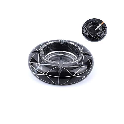 Shan WANLIAN Nordic Marble Texture Ashtray, Resin Creative Ashtray, Home Office Gifts, Living Room Creative Home Ashtray, Fashion Ashtray (Black)
