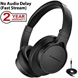 Avantree HS063 No Audio Delay Fast Stream Comfortable Bluetooth Headphones Over Ear with Mic for TV PC, Extra Lightweight, Foldable Wireless Wired Headset for Computer Laptop [2-Year Warranty]