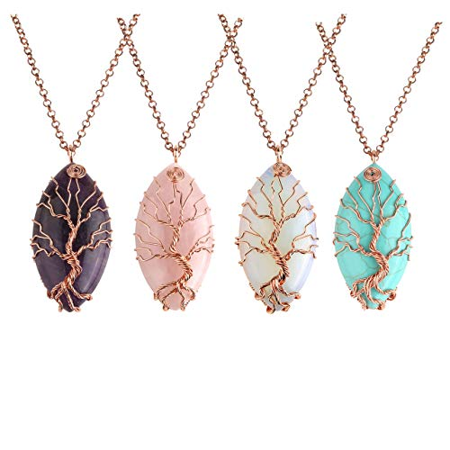 Jovivi 4pcs Vintage Tree of Life Wire Wrapped Copper Marquise Natural Amethyst Quartz Gemstones Healing Crystal Chakra Pendant Necklace w/Box