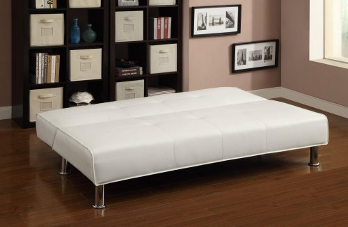 Coaster 300296 Sofa Beds Collection Adjustable Armless White Sofa Bed with Vinyl Upholstery and Chrome Legs in Silver