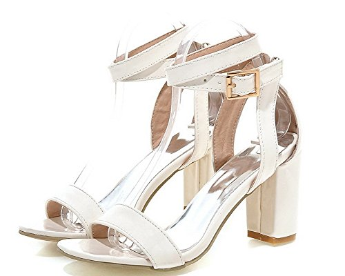 Sandals High WeiPoot Heels White Solid Pu Buckle Toe Women's Open nqZIa8q