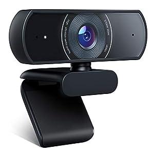 Crosstour Webcam 1080P Full HD Webcam cámara Web cámara de vídeo para computadoras portátiles de Escritorio, micrófonos Integrados duales, videollamadas, conferencias, Estudio en línea