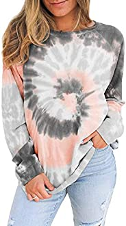 HAVANSIDY Women's Long Sleeve Shirts Tie Dye Color Block Loose Lightweight