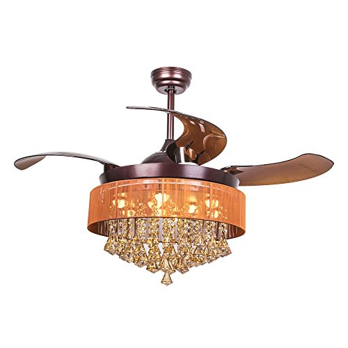 (Parrot Uncle Ceiling Fan with LED Light Kit 46 Inch Remote Control Retractable Blades Ceiling Fan Modern Crystal Chandelier Fan, Replaceable 4000K Cool White Lights, Not Dimmable, Brown)