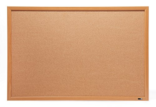 Wood Frame Cork Board - Innovart Bulletin Board, Cork Board,3 ' x 2',36 x 24, Oak Wood Finish Frame UNI008