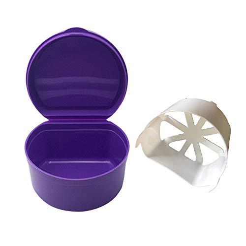 Hot Sale!DEESEE(TM)5Colors Denture Bath Box Case Dental False Teeth Storage Box with Hanging Net Container (Purple)]()