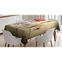 Zombie Decor Tablecloth by Ambesonne, Dead Man Walking Dark Danger Scary Scene Fiction Halloween Infection Picture, Dining Room Kitchen Rectangular Table Cover, 52 W X 70 L Inches, Multicolor
