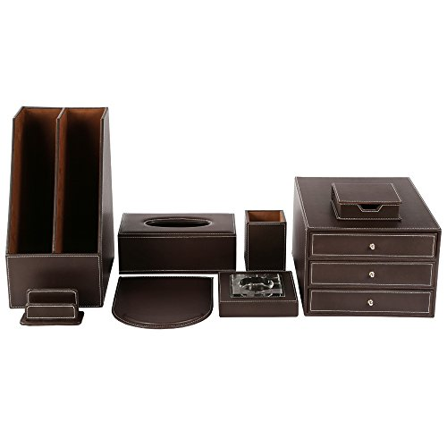 KINGFOM Office Desk Organizer Set 8PCS Synthetic Leather Including File Holder Cabinet,Desk Organizer Drawer,Pen Box,Memo Paper Holder,Mouse Pad,Card Stand,Crystal Ashtray,Tissue Box Holder (T03-Br)