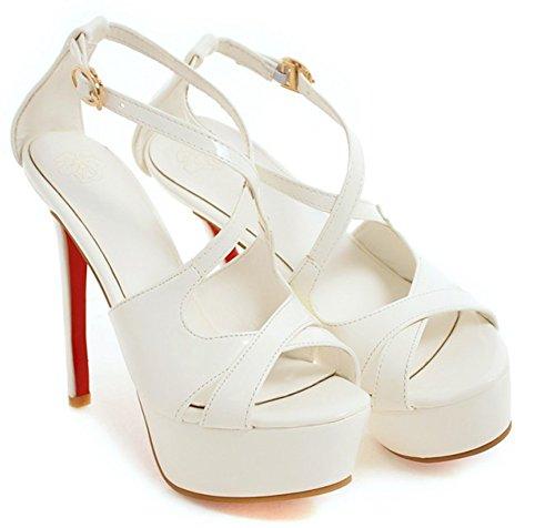 Cheville Sandales Femme Blanc Hauts Bride Aisun Talons Sexy B6AxngT