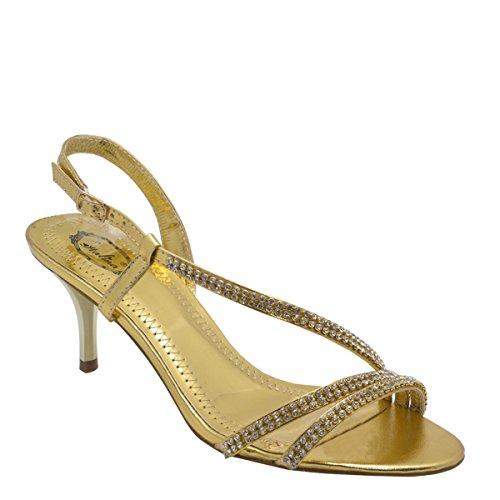 Nuovo Brieten Womens Strass Strappy Gattino Tacco A Zampa Sandali Vestito Oro