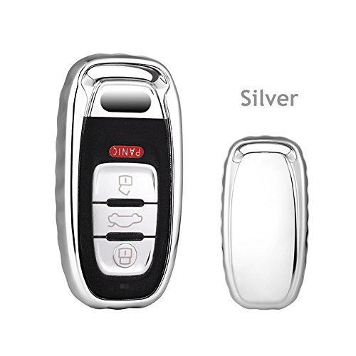 Silver Premium Soft TPU 360 Degree Full Protection Key Shell Key Case Cover Compatible with Audi A4L A6 GUANGGU for Audi Key Fob Case