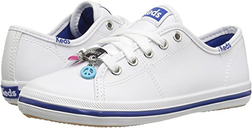 Keds Kickstart Charm Sneaker (Little Kid/Big Kid), White Leather, 3 M US Little Kid