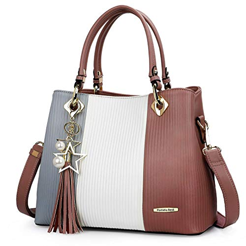 - Handbags for Women with Multiple Internal Pockets in Pretty Color Combination (Grey/White/Purple)