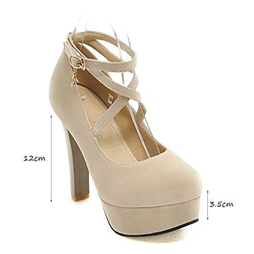 Damenschuhe Starke Frühling Sommer Knopf Flacher Damen Ferse Plattformen Mund Schuhe High Heels CHwwcTZq