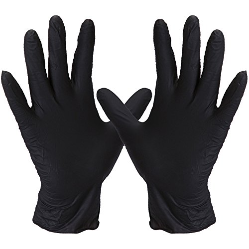 FWPP Disposable Nitrile Surgical Gloves Ambidextrous Textured Powder Free Latex Free, Hypoallergenic Pack of 100 Pcs,Black by FWPP
