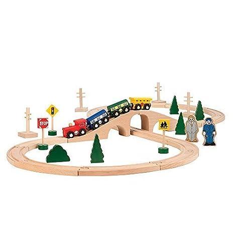 Amazon.com: All Aboard Wooden Chug along Train Set (34-Piece) by ...