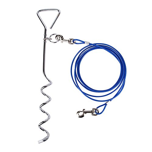 16ft 5m Dog Tie Out Cable With 18 Spiral Ground Stake Spike