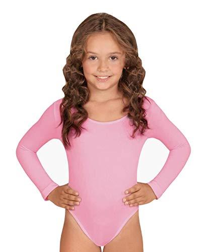 furein Maillot de Danza Ballet Gimnasia Leotardo Body Clásico Elástico para Niña de Manga Larga Cuello Redondo (8 años, Rosa)