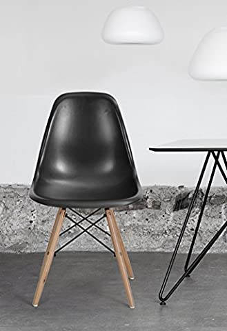 Set of 4 Eames Style Chair Natural Wood Legs Cushion Seat and Back for Dining Room Chairs in Black (Plastic Chairs Set Of 4)