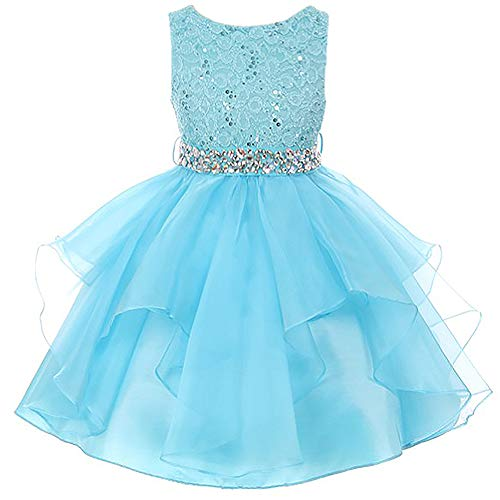 Little Girls Lace Bodice Asymmetric Ruffles Tulle Skirt Rhinestones Flower Girl Dress Aqua - Size 6 ()