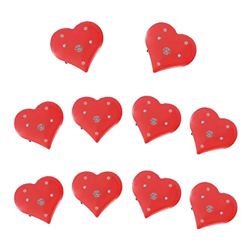 Amosfun 20pcs LED Light Up Red Heart Brooch Pins Flashing Light Brooch Pins Wedding Birthday Party Valentine's Day Party Favors