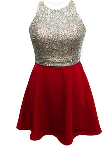 HarveyBridal Backless Crystal Prom Dresses Short for Party Homecoming Red US04