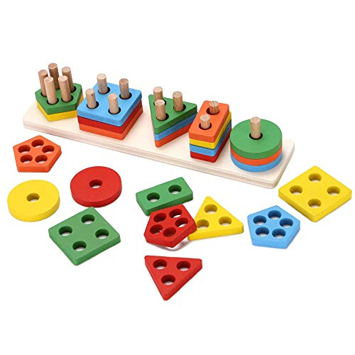 (Afunti Wooden Educational Preschool Toddler Toys for 1 2 3 4-5 Year Old Boys Girls Shape Color Recognition Geometric Board Blocks Stack Sort Kids Children Non-Toxic Toy)