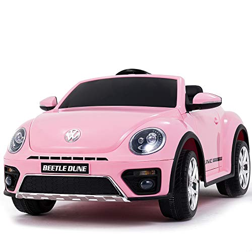 Uenjoy Kids Ride on Volkswagen Cars 12v Battery Power Kids Electric Vehicles with Wheels Suspension, Lovely VW Beetle Kid's Vehicles Cars Double-Drive Car for Kids W/ Remote Control, Double Door,Pink