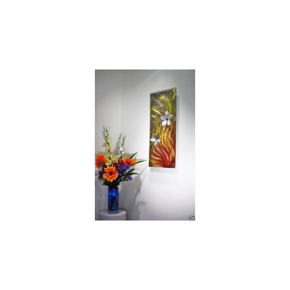 Modern Painting on Metal, Wall Decor, Floral Art, Design by Wilmos Kovacs