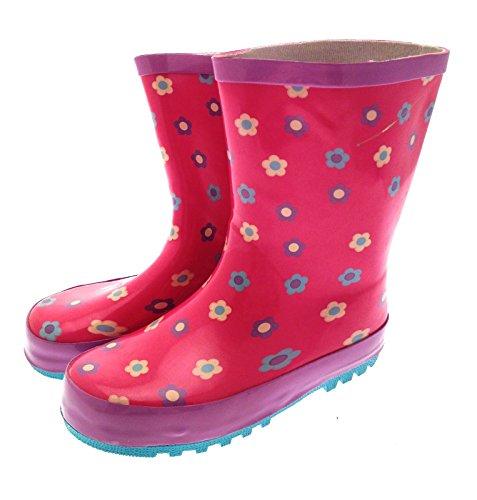 Kinder/Mädchen Gummistiefel Pink mit Blumen