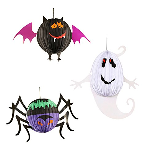 Lecoon-3-Piece-Halloween-Party-Paper-Lantern-Decorations-Pendant-Hanging-Decorations-Spider-Bat-Ghost