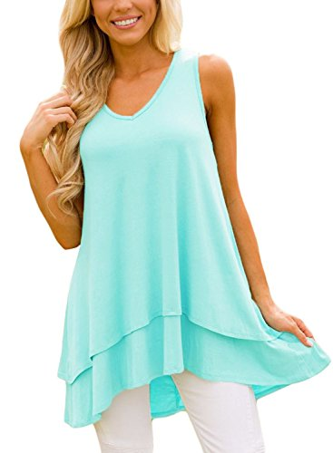 Bdcoco Women's Sleeveless V Neck Flowy Tank Tops Summer Tunic(S-XXL)