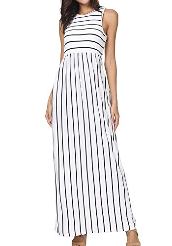FISOUL Women's Summer Pocket Dresses Casual Sleeveless Striped Flowy Long Maxi Dress White M