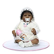 22 inch Black Reborn Gentle Touch Alive African-American Smiling Baby Girl Boy Dolls