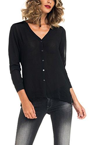 SALSA Camisa sin cuello, con mangas transparentes y parte de terciopelo en la espalda Negro
