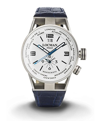 LOCMAN Watch World Dual Time Men's Automatic Chronograph 44mm Case White Dial