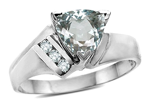 Star K Genuine Aquamarine Trillion Triangle Contemporary Modern Designer Ring 14 kt White Gold Size 7