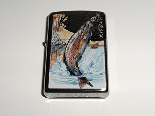 Zippo Jumping Trout Brushed Chrome Lighter - Jumping Trout