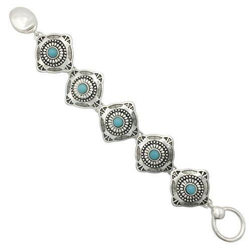 Western Style Silver Tone Clasp Bracelet (Imitation Turquoise Square concho)