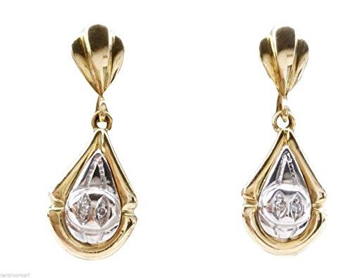 Boucles d'oreilles pendantes Or 18carats 750avec diamant 0,02naturelles H- vs 5,90Gr