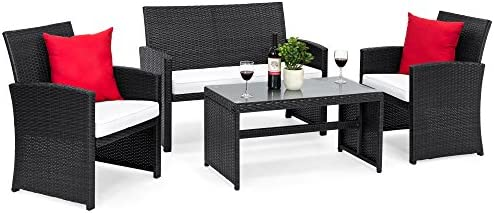 Best Choice Products 4-Piece Wicker Patio Conversation Furniture Set w/ 4 Seats and Tempered Glass Top Table