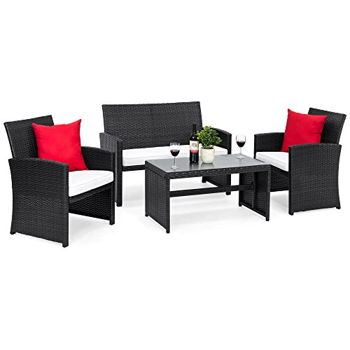 Best Choice Products Outdoor Garden Patio 4pc Cushioned Seat Black Wicker Sofa Furniture ()