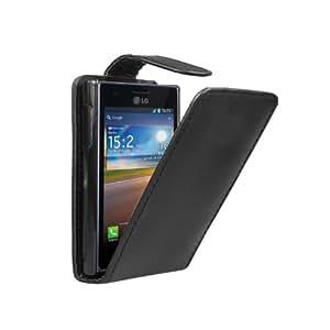 Negra Funda de Cuero para LG E400 Optimus L3 - Flip Case Cover + 2 Protectores de Pantalla