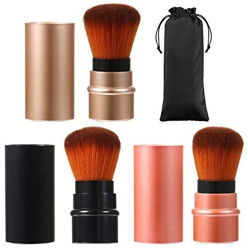 JewelryWe 3 Colors Cosmetic Beauty Makeup Minerals Powder Brush Travel Retractable Kabuki Brush,Foudation Blush Brush Cosmetic Tool (3pcs)
