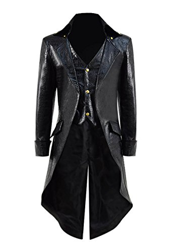 Very Last Shop Mens Gothic Tailcoat Jacket Black Steampunk Victorian Long Coat Halloween Costume (Custom-Made, Black B(Faux-Leather)) ()